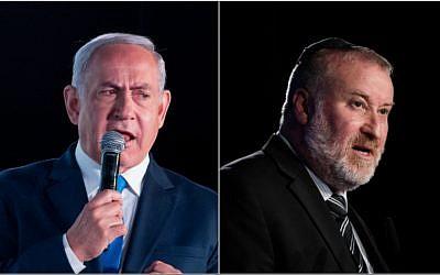 Prime Minister Benjamin Netanyahu, left, and Attorney General Avichai Mandelblit, in a composite photo. (Yonatan Sindel/Flash90)