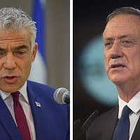 Yesh Atid party leader Yair Lapid (L) and Israel Resilience party chief Benny Gantz. (Yossi Zeliger/Flash90, Hadas Parush/Flash90)