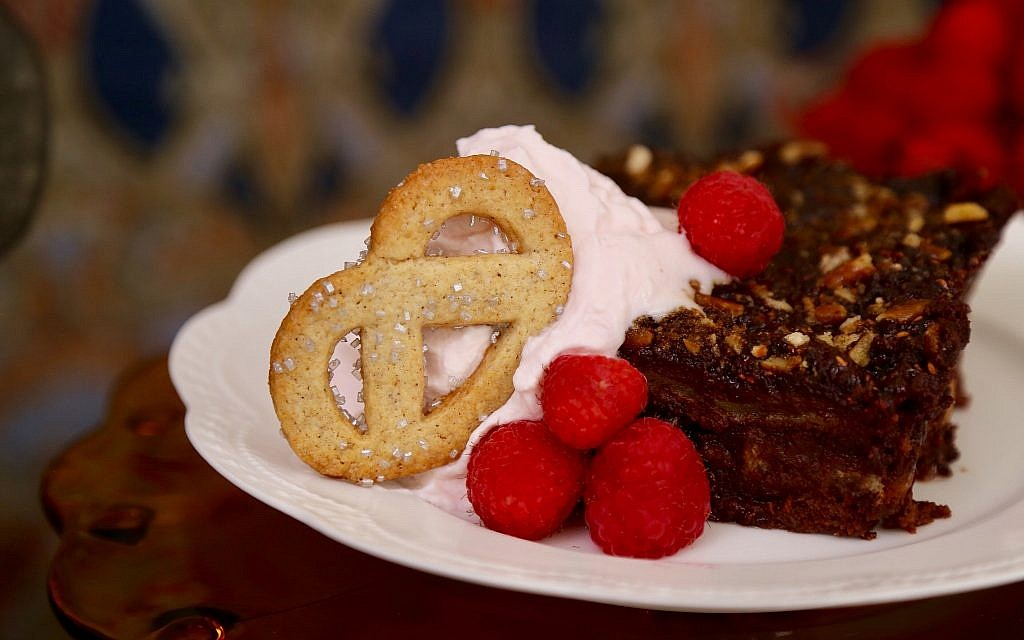 Chocolate raspberry pretzel bread pudding by Marilynn and Sheila Brass. (Courtesy)