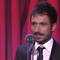 Screen capture from video of Spanish film director Julio Perez del Campo during an acceptance speech for a Goya Award for his documentary film 'Gaza, a look into the eyes of barbarism,' Febraury 7, 2019.(YouTube)