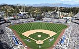 A view of Dodger Stadium on Opening Day, April 6, 2015. (Harry How/Getty Images via JTA)