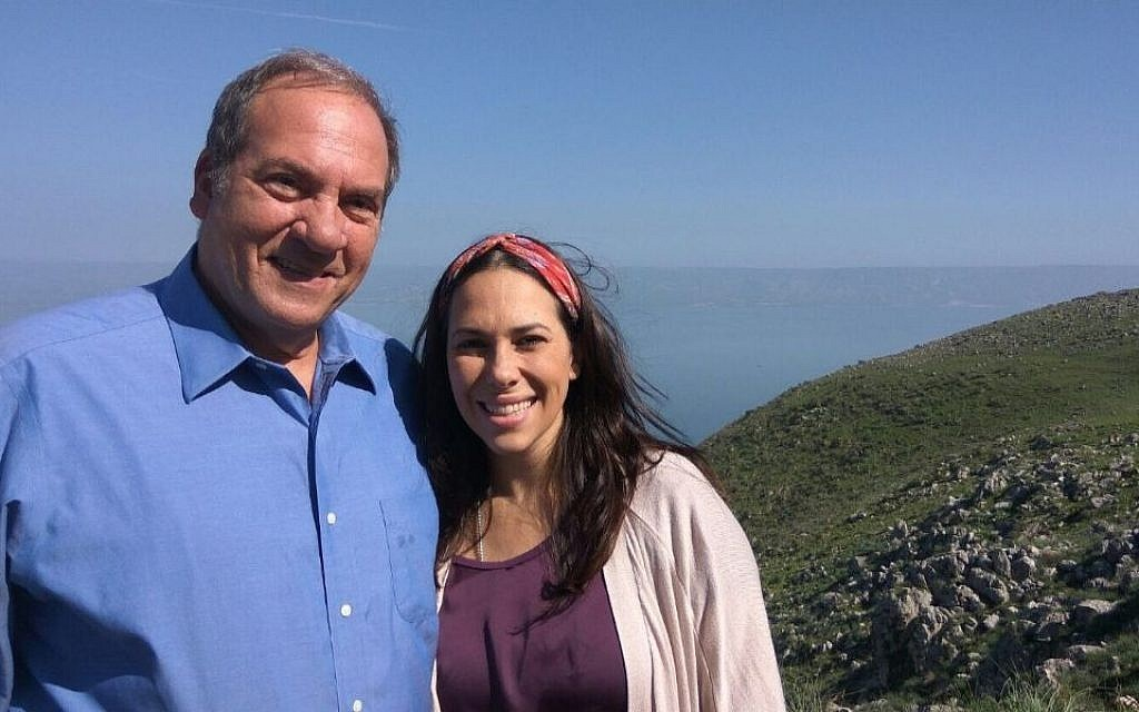 Rabbi Yechiel Eckstein and his daughter Yael at Mount Arbel in Israel's Lower Galilee region. (Courtesy of IFCJ via JTA)