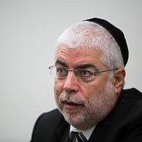 Shlomo Benizri during an interview in Jerusalem on September 10, 2014. (Yonatan Sindel/Flash90)