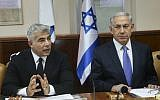Prime Minister Benjamin Netanyahu, left, and then finance minister Yair Lapid, at the weekly cabinet meeting in Jerusalem on October 7, 2014. (Marc Israel Sellem/POOL/Flash90)