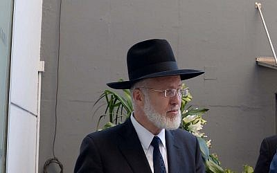 Argentina's chief rabbi Gabriel Davidovich at a ceremony at the site of the 1992 attack at the Israeli embassy in Buenos Aires, Argentina, on September 11, 2017. (Avi Ohayon/GPO)