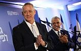 Blue and White party leaders Benny Gantz, left, and Yair Lapid, right, at the new alliance's unveiling in Tel Aviv on February 21, 2019. (Noam Revkin Fenton/Flash90)