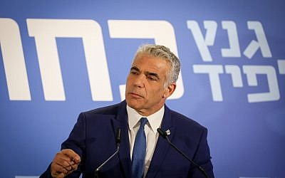 Yair Lapid of the Blue and White party, in Tel Aviv on February 21, 2019. (Noam Revkin Fenton/Flash90)