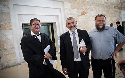Right-wing activists Michael Ben Ari (center), attorney Itamar Ben Gvir (left), and Bentzi Gopstein at the Supreme Court in Jerusalem on March 12, 2018. (Hadas Parush/Flash90)