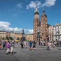View of Old Town in Krakow, Poland, August 15, 2018. (Yahav Gamliel/Flash90)
