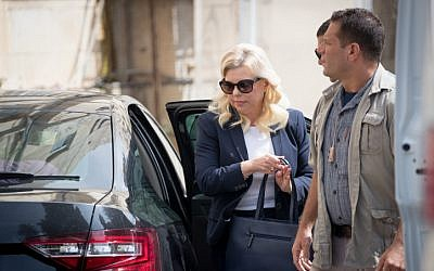 Sara Netanyahu, wife of Prime Minister Benjamin Netanyahu, arrives at the Jerusalem Magistrate's Court for the start of her trial on October 7, 2018. (Yonatan Sindel/Flash90)