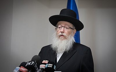 Deputy Health Minister Yaakov Litzman speaks during a press conference at the Health Ministry in Jerusalem on January 3, 2019. (Noam Revkin Fenton/Flash90)