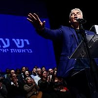Illustrative: Yesh Atid MK Yair Lapid speaks during an campaign event with hundreds of party supporters in Rishon Lezion on January 8, 2019. (Tomer Neuberg/Flash90)