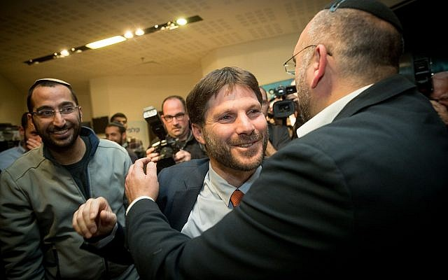 Bezalel Smotrich celebrates at the elections for the chairman and the Knesset list of the National Union party, at the Crown Plaza hotel in Jerusalem, on January 14, 2019. (Yonatan Sindel/FLash90)