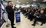 Avi Gabbay, leader of the Labor Party, speaks to supporters at a party's election campaign event in Tel Aviv, Jan 23, 2019.  (Gili Yaari/FLASH90)
