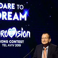 Tel Aviv mayor Ron Huldai at the City Exchange Ceremony and raffle January 28, 2019 for the semi-finals of the upcoming Eurovision Song Contest to be held May 14-18, 2019 in Tel Aviv. (Tomer Neuberg/Flash90)