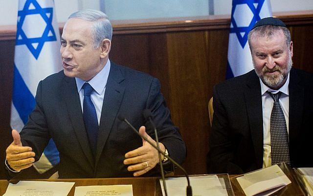 Prime Minister Binyamin Netanyahu, left, and Avichai Mandelblit at the Prime Minister's Office in Jerusalem, on December 13, 2015. (Yonatan Sindel/Flash90)