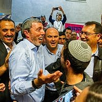 Jewish Home party chief Rafi Peretz at the party's primary headquarters in Ramat Gan on February 4, 2019. (Flash90)