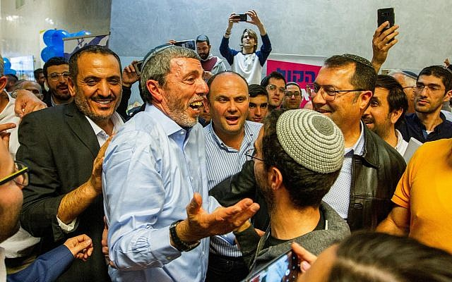 Head of the Jewish Home party Rabbi Rafi Peretz arrives to the party's preliminary elections in Ramat Gan on February 4, 2019. (Flash90)