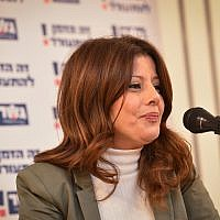 Gesher party leader MK Orly Levy-Abekasis, speaks during an campaign event in Tel Aviv, February 5, 2019. (Flash90)