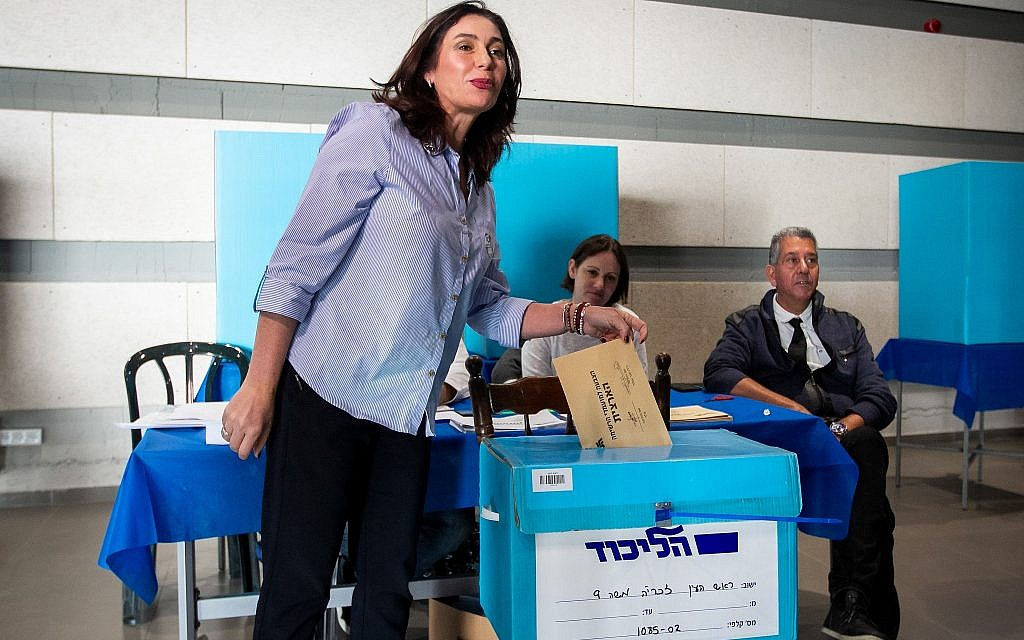 Culture Minister Miri Regev casts her vote at the Likud primary polling station in Rosh Ha'ayin on February 5, 2019. (Flash90)