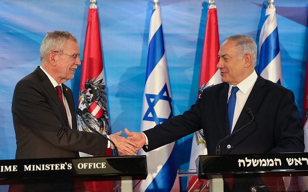 Prime Minister Benjamin Netanyahu (R) and Austrian President Alexander Van Der Bellen hold a joint press conference at the Prime Minister's Office in Jerusalem on February 5, 2019. (Noam Revkin Fenton/Flash90)