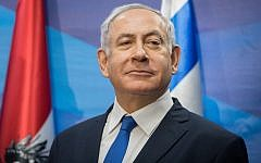 Prime Minister Benjamin Netanyahu during a press conference at the Prime Minister's Office in Jerusalem, February 5, 2019. (Noam Revkin Fenton/Flash90)