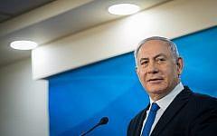 Prime Minister Benjamin Netanyahu speaks during a joint press conference with Austrian President Alexander Van der Bellen at the Prime Minister's Office in Jerusalem on February 5, 2019. (Noam Revkin Fenton/Flash90)