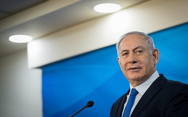 Prime Minister Benjamin Netanyahu at a joint press conference with Austrian President Alexander Van der Bellen at the Prime Minister's Office in Jerusalem on February 5, 2019. (Noam Revkin Fenton/Flash90)