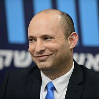 Education Minister Naftali Bennett at a press conference in Tel Aviv, February 7, 2019. (Tomer Neuberg/Flash90)
