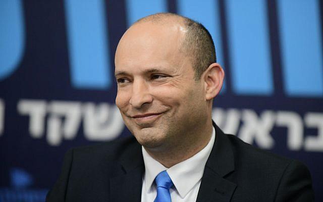 Education Minister Naftali Bennett at a press conference in Tel Aviv, February 7, 2019. (Tomer Neuberg/Flash90)