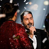 "Kobi Marimi, winner of the reality show ""Rising Star"" during the final  on February 12, 2019. (Noam Revkin Fenton/Flash90)"
