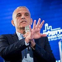 Finance Minister Moshe Kahlon speaks at the 16th annual Jerusalem Conference of the Besheva group, on February 12, 2019. (Yonatan Sindel/Flash90)