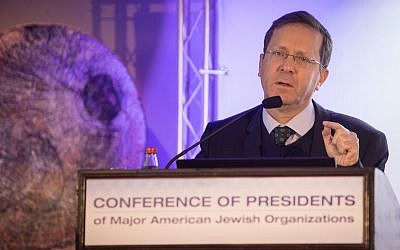 Jewish Agency Chairman Isaac Herzog speaks at a gathering in Jerusalem of the Conference of Presidents of Major American Jewish Organizations on February 18, 2019. (Hadas Parush/Flash90)