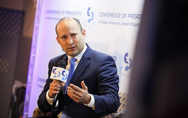 Education Minister Naftali Bennett at the Conference of Presidents of Major American Jewish Organizations gathering in Jerusalem, February 18, 2019. (Hadas Parush/Flash90)