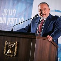 Yisrael Beytenu leader Avigdor Liberman presents his right-wing party's candidates for the upcoming Knesset elections, during an event in Ashkelon on February 19, 2019. (Hadas Parush/Flash90)