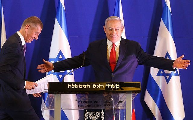 Prime Minister Benjamin Netanyahu and Czech Republic's Prime Minister Andrej Babis during a joint press conference at the King David Hotel in Jerusalem on February 19, 2019. (Marc Israel Sellem/pool/Flash90)