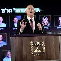 Benny Gantz, head of the Israel Resilience party, speaks at a conference presenting the party's list of candidates for coming Knesset elections at an even held, in Tel Aviv on February 19, 2019. (Tomer Neuberg/Flash90)
