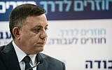 Avi Gabbay, leader of the Labor party, seen during a press conference in Tel Aviv on February 13, 2019. (Tomer Neuberg/Flash90)