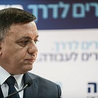 Avi Gabbay, leader of the Labor Party seen during a press conference in Tel Aviv on February 13, 2019. (Tomer Neuberg/Flash90)