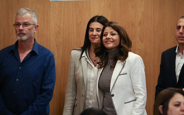 Head of the Gesher Political party MK Orly Levy Abekasis at the Central Elections Committee, where political parties running for a spot in the upcoming Israeli elections, arrive to present their slates, Tel Aviv, February 21, 2019 (Yonatan Sindel/Flash90)