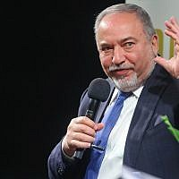 Yisrael Beytenu party leader Avigdor Liberman speaks at an event in Ganei Tikva, on February 25, 2019. (Flash90)