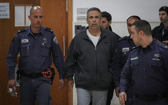 Former energy minister Gonen Segev seen at the Jerusalem District Court for sentencing in an Iran spying case, February 26, 2019. (Yonatan Sindel/Flash90)