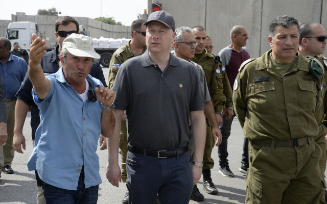 File: US President Donald Trump's Special Representative for International Negotiations Jason Greenblatt, center, on a tour of Israel that includes the Gaza periphery area, Ziv Hospital in Safed and the Old City of Jerusalem, August 29-30, 2017. (US Embassy Jerusalem/via JTA)