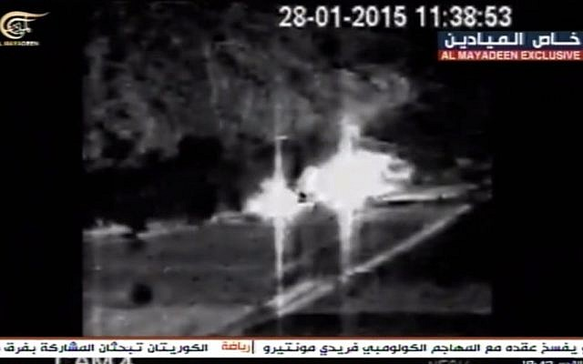 Video aired by the Hezbollah-linked al-Mayadeen outlet on February 15, 2019, that appears to show two Israeli vehicles on fire after being struck by an anti-tank missile fired by the terror group on January 28, 2015. (Screen capture: Facebook)