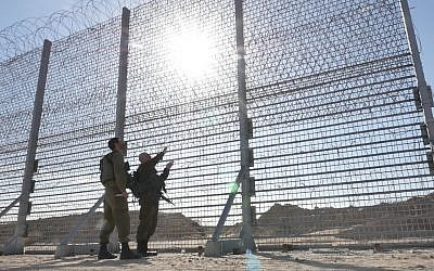 Israel constructs an above-ground barrier around Gaza Strip, meant to prevent infiltration by terrorists, in February 2019. (Defense Ministry)