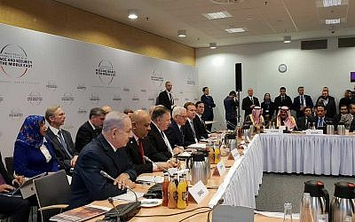 Prime Minister Benjamin Netanyahu (left, foreground) with other leaders at the conference on Peace and Security in the Middle East in Warsaw, on February 14, 2019. (Amos Ben Gershom/GPO)