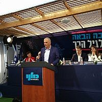 Kulanu chairman Moshe Kahlon speaks during a press conference at his party's headquarters in Tel Aviv, February 13, 2019. (Raoul Wootliff/Times of Israel)