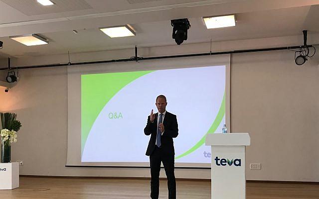 Teva CEO Kare Schultz at a press conference in Tel Aviv, February 19, 2019 (Shoshanna Solomon/Times of Israel)