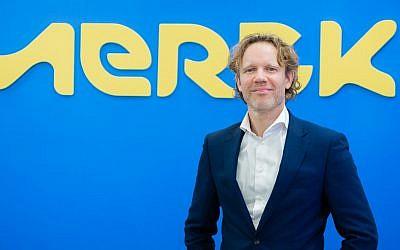 Jasper Bos, the senior VP and managing director of M Ventures, the venture capital arm of the German giant Merck in Yavne, Israel, on February 12, 2019  (Liat Eldar)