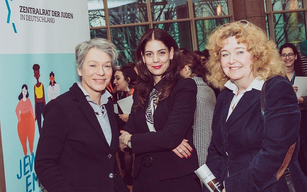From left: Dr. Ina Hartwing, head of the Department of Culture in Frankfurt; Sabena Donath, Head of the Educational Department of the Central Council; Prof. Barbara Traub, member of the Presidium of Central Council of Jews in Germany. (Courtesy Zentralrat der Juden in Deutschland/ Vero Bielinski)